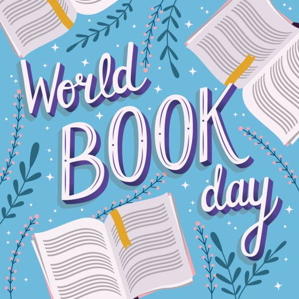 World book day, hand lettering typography modern poster design with open books, vector illustration vector art illustration