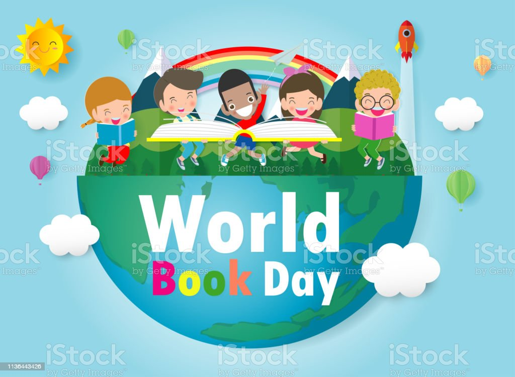 World Book Day, kid reading books ,Education Concept, Happy Book Day...