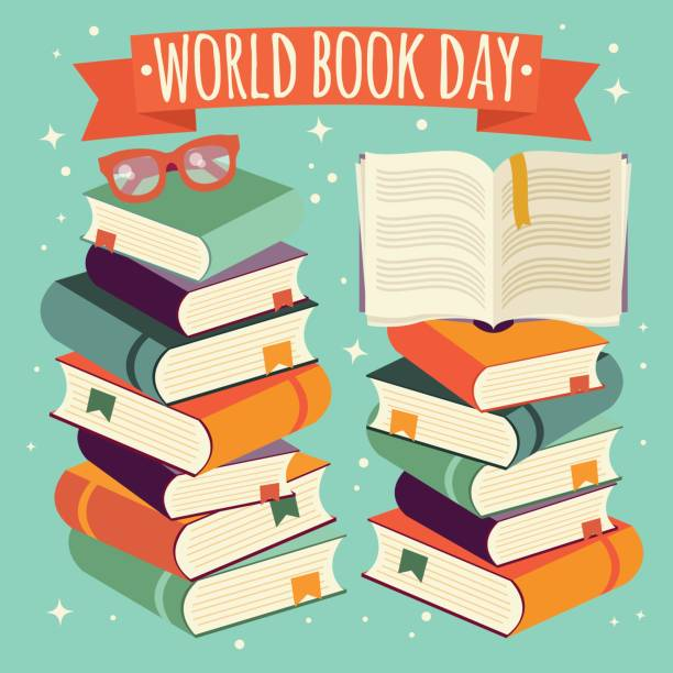 World book day, open book on stack of books with glasses on mint background, vector illustration vector art illustration