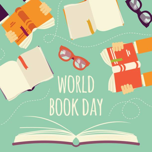 World book day, open book with hands holding books and glasses, vector illustration vector art illustration
