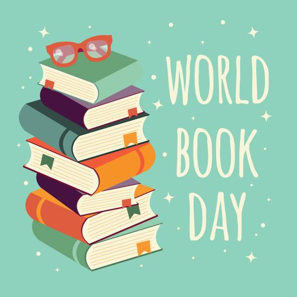 World book day, stack of books with glasses on mint background, vector illustration vector art illustration