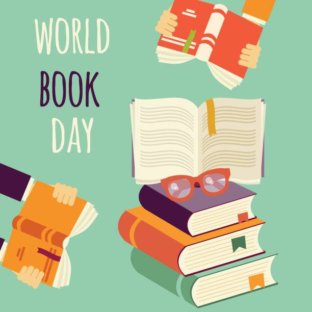 World book day, stack of books with hands and glasses, vector illustration vector art illustration