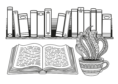 World Book Day. Stylized black and white books on the shelf and cup of coffee or tea.