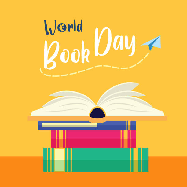 world book day vector art illustration
