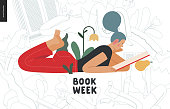 World Book Day graphics - book week events. Modern flat vector concept illustrations of reading people - a young blue-haired woman reading a book laying down surrounded by plants and blossom flowers