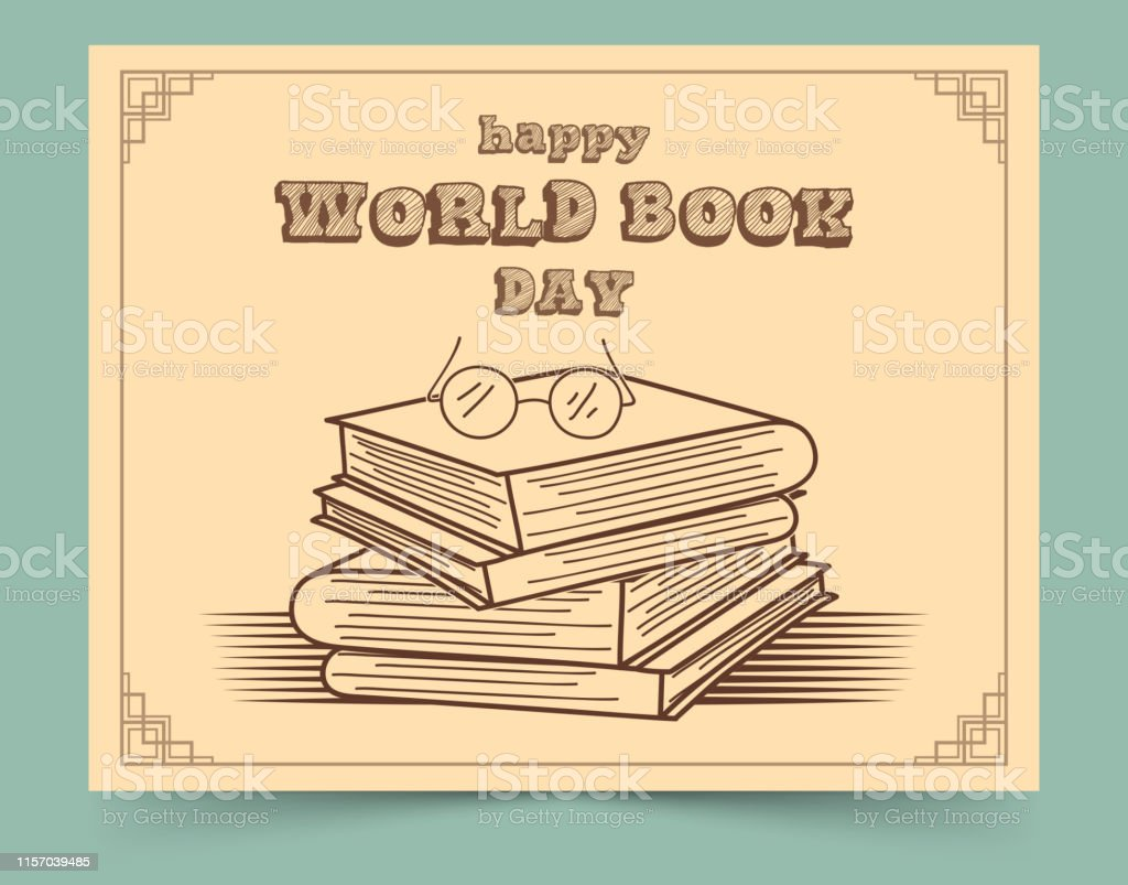 Vector illustration of World book day with stack of books