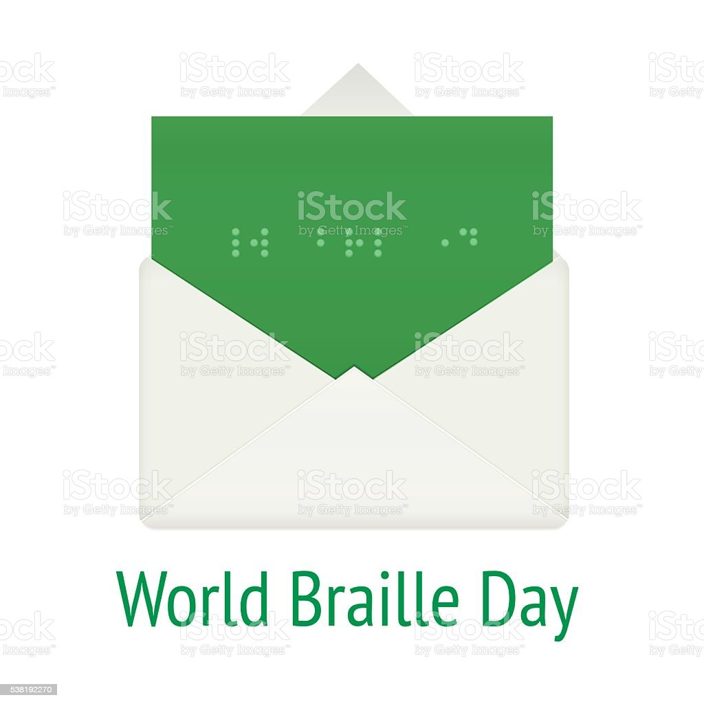 World braille day concept envelope vector art illustration