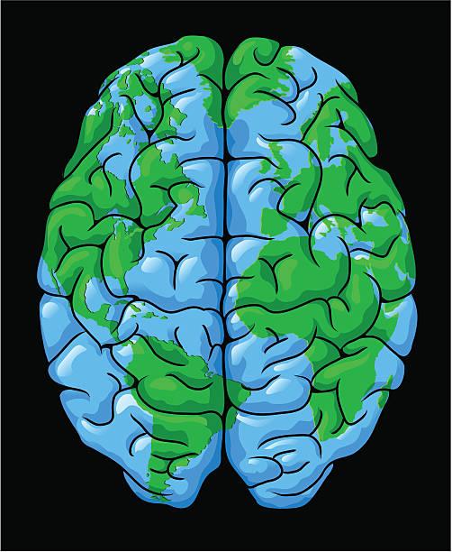 World brain vector art illustration