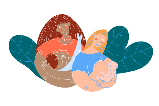World Breastfeeding Week, 1-7 August. Two women of different nationalities hold on their hands newborn baby