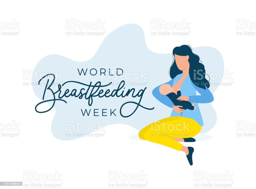 World Breastfeeding Week With Woman And Baby Stock Illustration