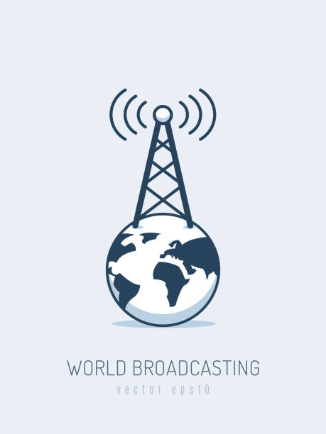 World Broadcasting Globe with antenna broadcasting radio waves signal vector illustration in monoline style repeater tower stock illustrations