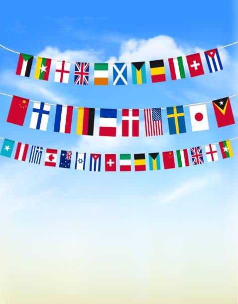 bildbanksillustrationer, clip art samt tecknat material och ikoner med världen bunting flaggor på blå himmel. vektorillustration - summer sweden