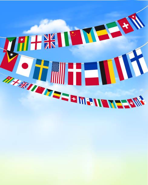 stockillustraties, clipart, cartoons en iconen met wereld bunting leeuwenvlaggetjes op blauwe hemel. vectorillustratie - nationale vlag