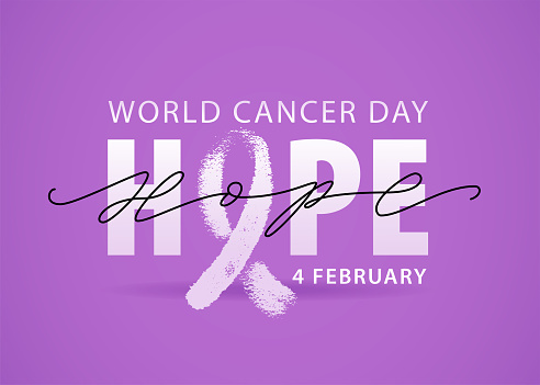World cancer day 4 february text. Vector illustration concept for world cancer day. Hope word with violet ribbon symbol.