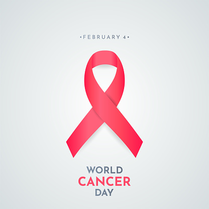 World Cancer Day card with ribbon. Vector