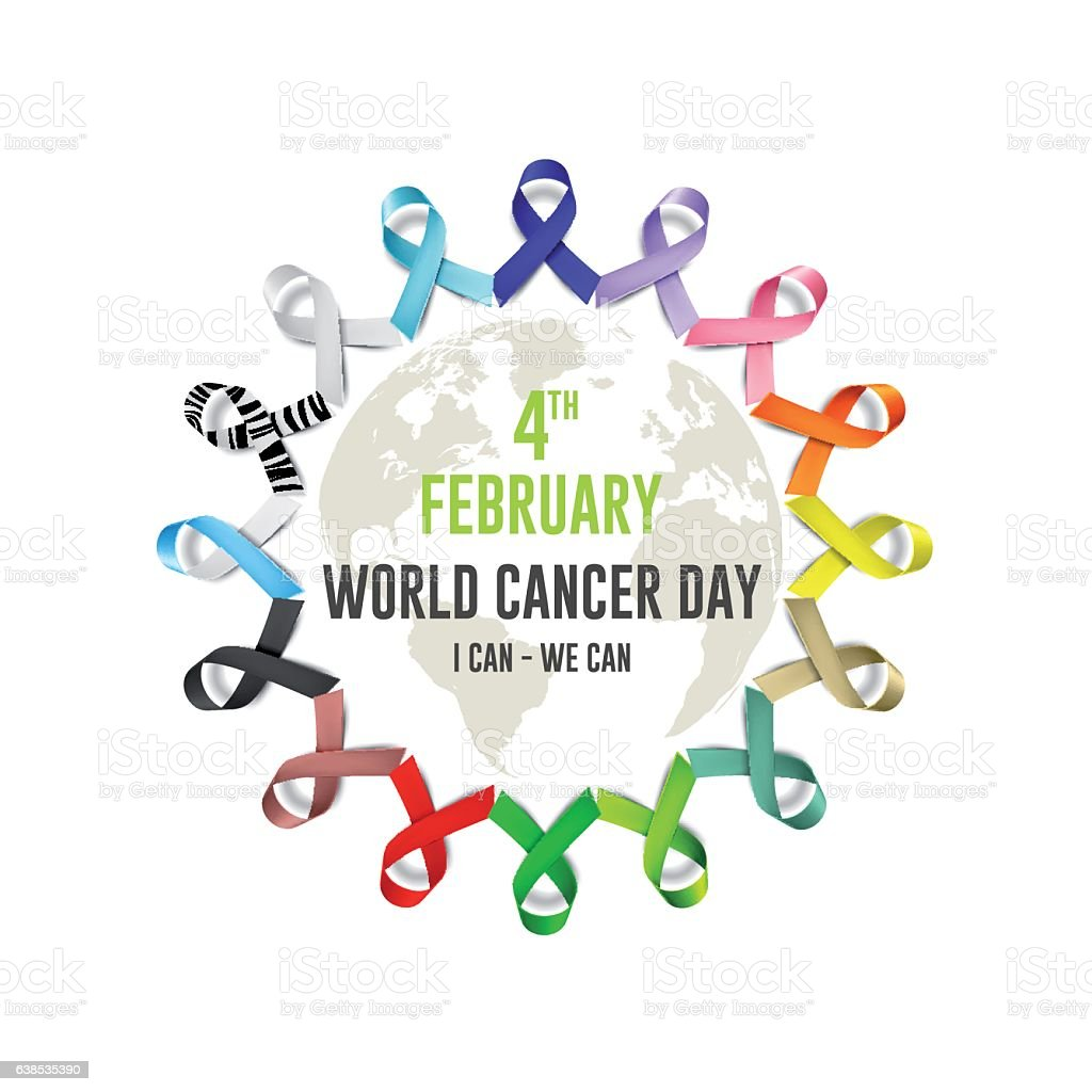 world cancer day in February 4 . vector art illustration