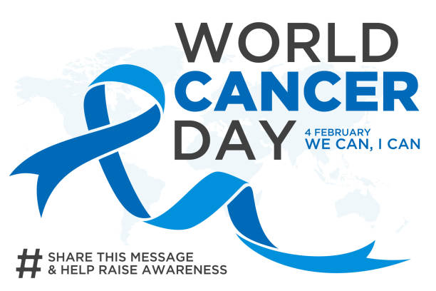 World cancer day lettering element design with blue color ribbon on white background World cancer day lettering element design with blue color ribbon on white background. Vector illustration of World Cancer Day with ribbon and text. Vector illustration EPS.8 EPS.10 chemotherapy cancer stock illustrations