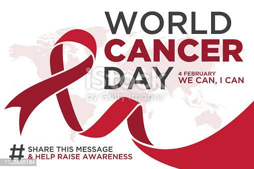 World cancer day lettering element design with red color ribbon on white background. Vector illustration of World Cancer Day with ribbon and text. Vector illustration EPS.8 EPS.10
