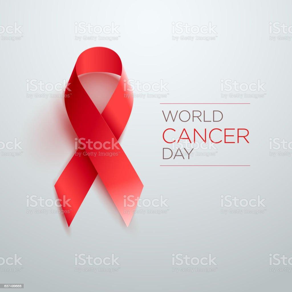 World Cancer Day Ribbon vector art illustration