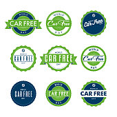 World Car Free Day Labels Icon Set