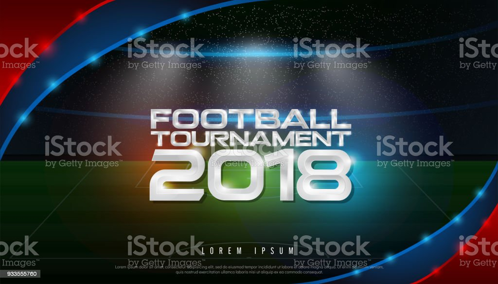 2018 world championship football tournament cup on stadium background. soccer icon,   broadcast graphic template
