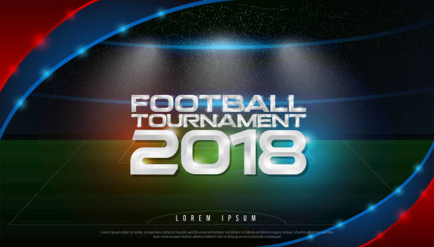 2018 world championship football tournament cup on stadium background. soccer icon,   broadcast graphic template - football stock illustrations, clip art, cartoons, & icons