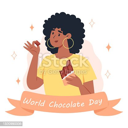istock World chocolate day, a young woman eating a bar of chocolate 1320990335