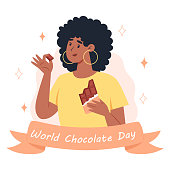 World chocolate day, a young woman eating a bar of chocolate
