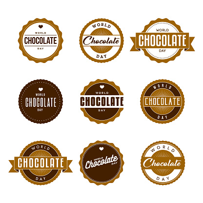 World Chocolate Day Labels Icon Set