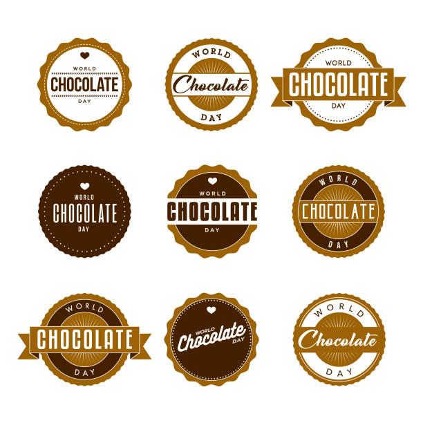 세계 초콜릿 하루 레이블 아이콘을 설정 - 초콜릿 stock illustrations