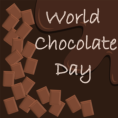 World Chocolate Day Vector Important Day Chocolate Day Poster July 7  Celebrate World Chocolate Day With Lettering Word And Chocolate Blocks  Stock Illustration - Download Image Now - iStock