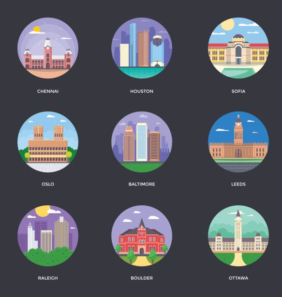 stockillustraties, clipart, cartoons en iconen met wereldsteden en toerisme illustratie instellen 11 - oslo city hall