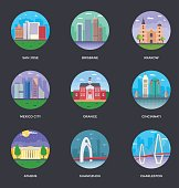 World Cities and Tourism Illustration Set 12