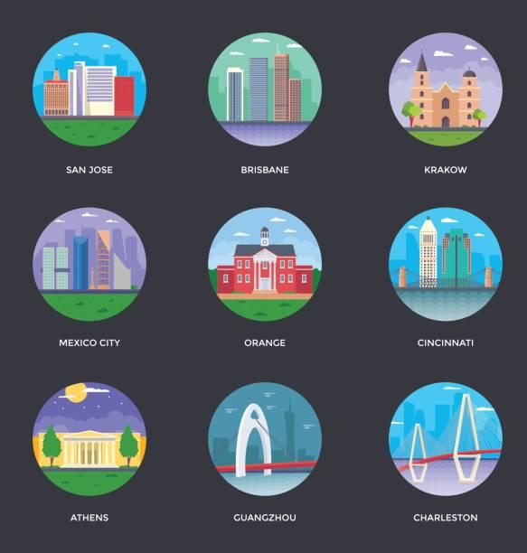 World Cities and Tourism Illustration Set 12 vector art illustration