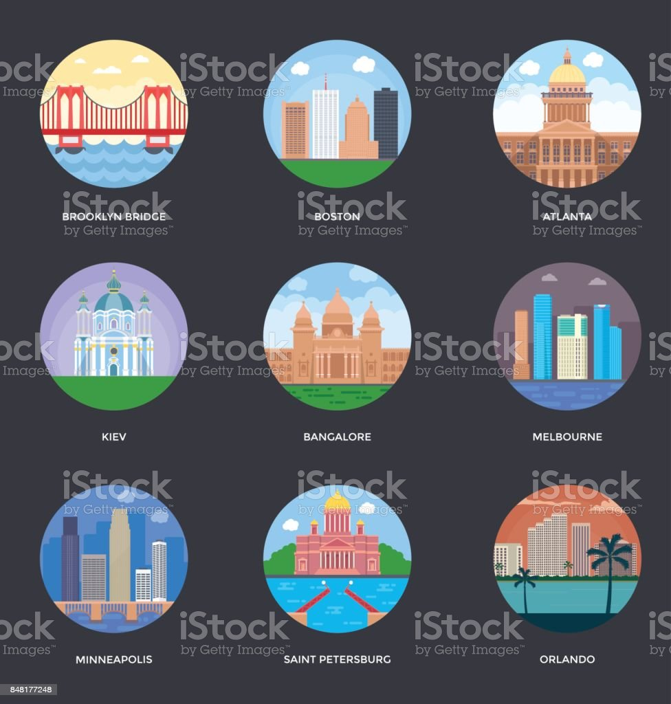 World Cities and Tourism Illustration Set 6 vector art illustration