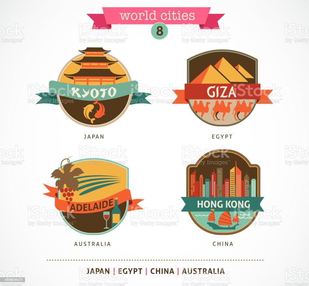 World Cities labels - Kyoto, Giza, Adelaide, Hong Kong, vector art illustration