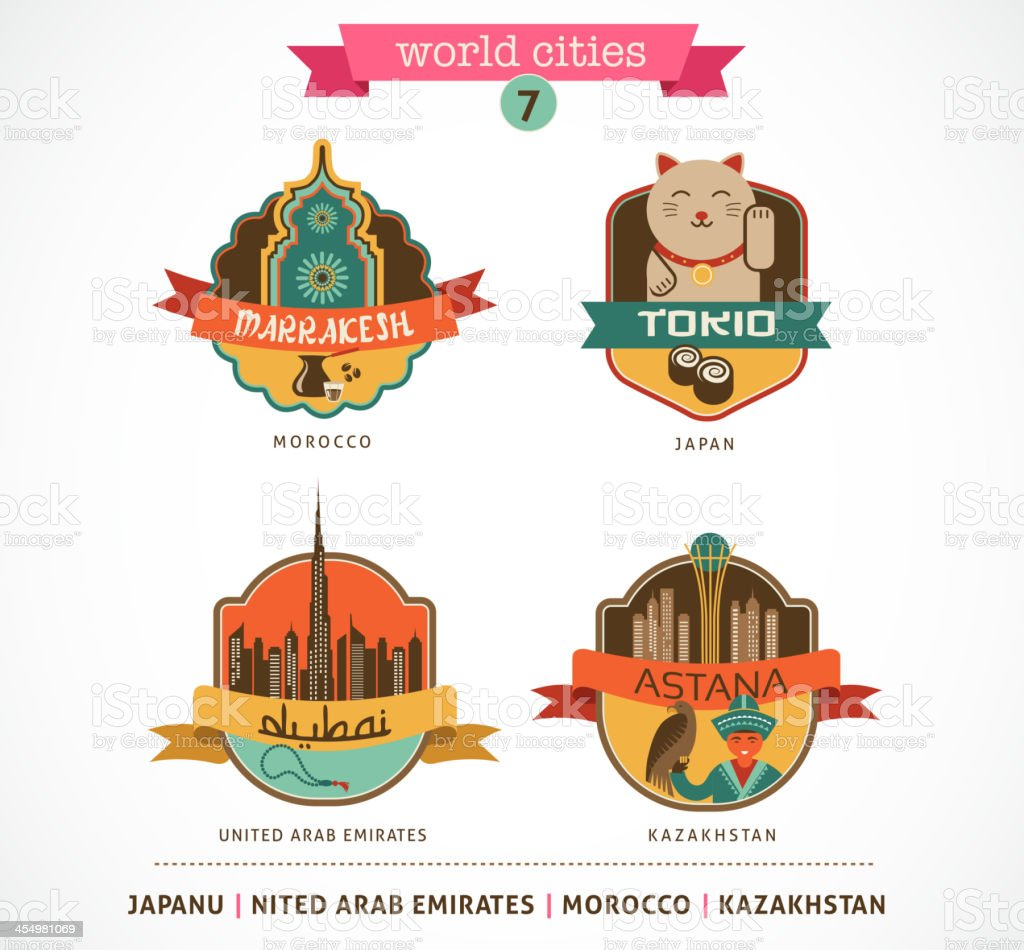 World Cities labels - Marrakesh, Tokio, Astana, Dubai, vector art illustration