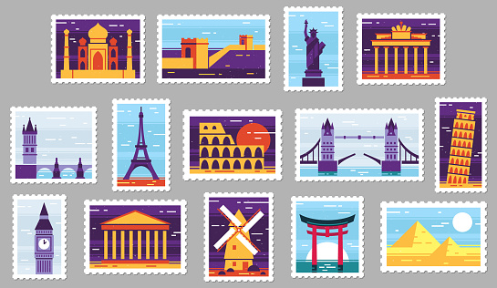 World cities post stamps. Travel postage stamp design, city attractions postcard and town. Monuments post letter stamping, travelling mail stamps. Isolated vector illustration icons set