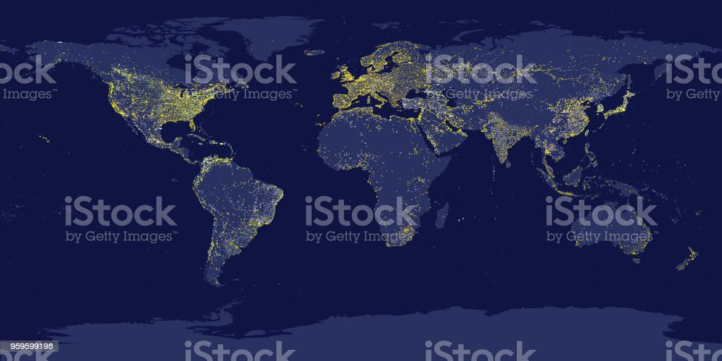 World city lights map night earth view from space vector world city lights map night earth view from space vector illustration royalty free gumiabroncs Image collections
