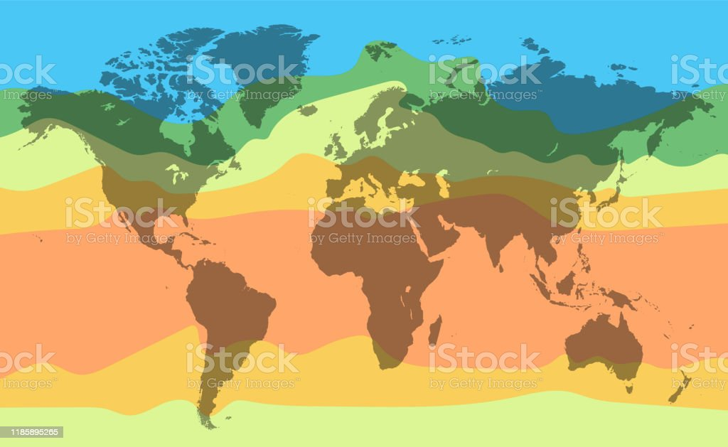 World climate temperature map. Detailed vector illustration World climate temperature map. Detailed vector illustration for your projects. Abstract stock vector