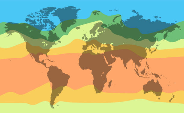 World climate temperature map. Detailed vector illustration World climate temperature map. Detailed vector illustration for your projects. continent geographic area stock illustrations