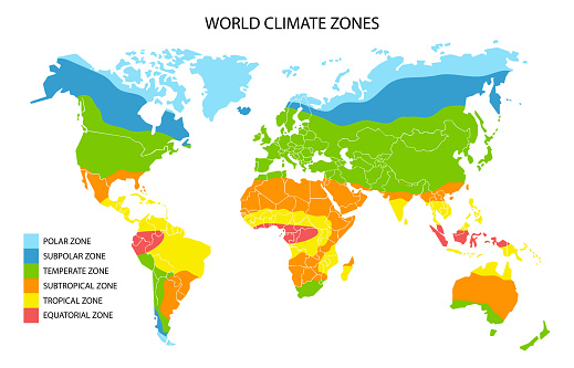 World climate zones map, vector geographic infographics