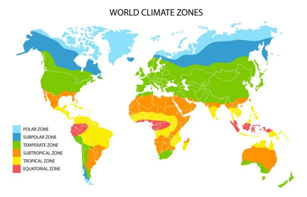 stockillustraties, clipart, cartoons en iconen met wereldklimaat zones kaart, vector geografische infographics - klimaat