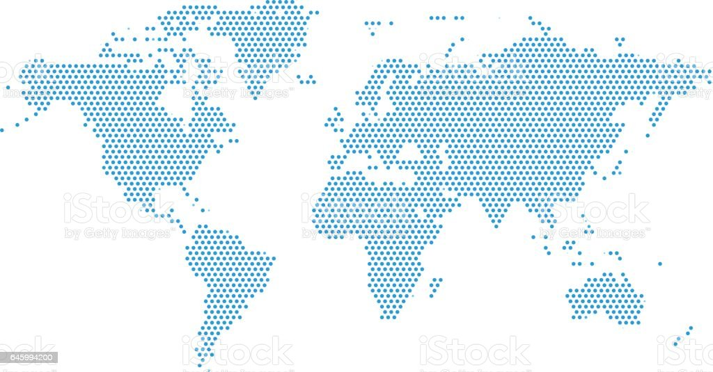World Continents Map - Dots style illustration vector art illustration