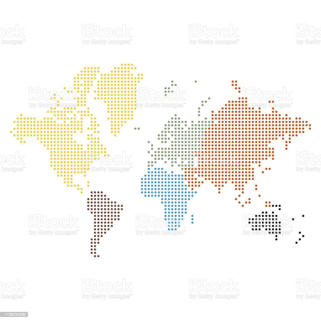 Carte Du Monde Continents Pixel Vecteurs Libres De Droits Et Plus Dimages Vectorielles De Abstrait
