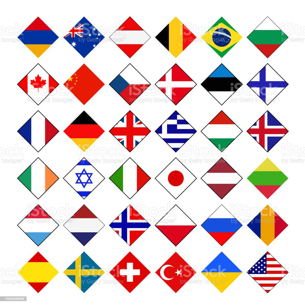World countries flags vector art illustration