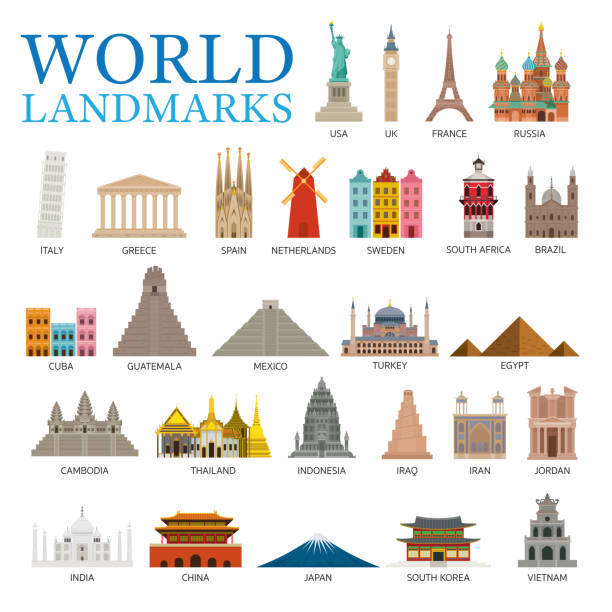 World Countries Landmarks Set Famous Place and Historical Buildings, Travel and Tourist Attraction international landmark stock illustrations