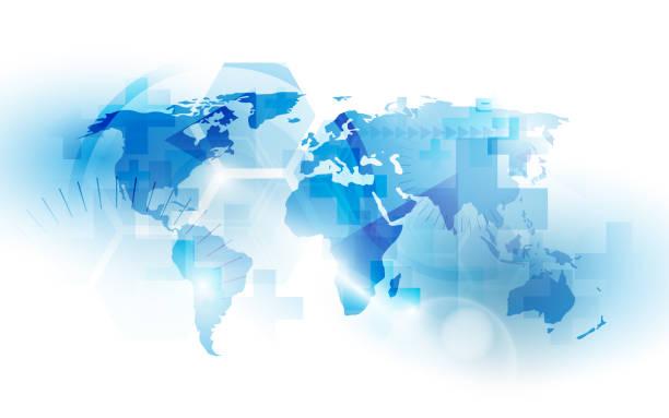mapa krajów świata z koncepcją zdrowia i medycyny. abstrakcyjne niebiesko-białe tło technologii - globalny stock illustrations