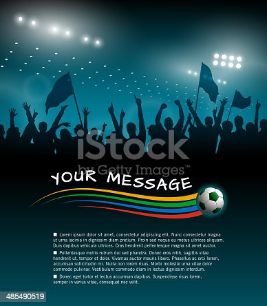 Soccer fans background. EPS 10 file,contains transparencies. File is layered, global colors used and hi res jpeg included.Please take a look at other work of mine linked below.