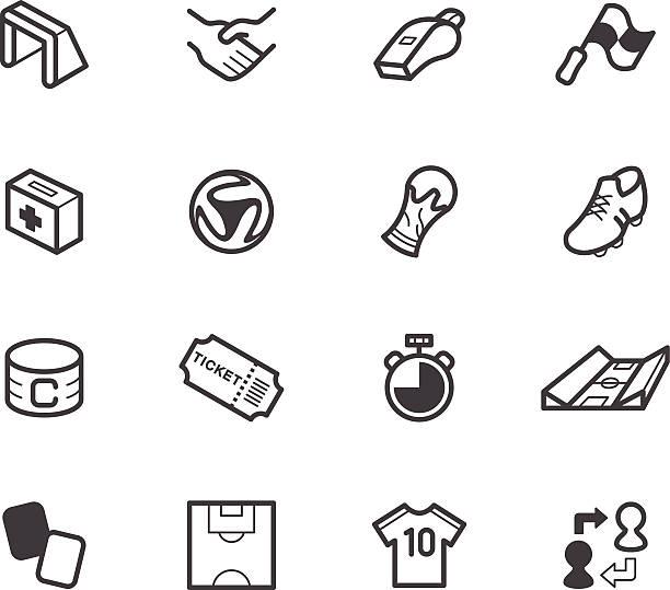 stockillustraties, clipart, cartoons en iconen met world cup soccer vector black icon set on white background - internationaal voetbalevenement